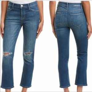 Current Elliot Distressed Straight Cropped Jeans